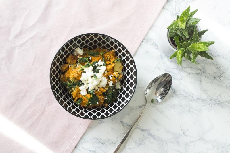 Couscous Spinat Zucchini Feta